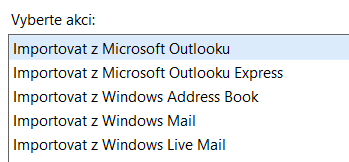 Jednoduchý import dat ze stávajícího emailového klienta